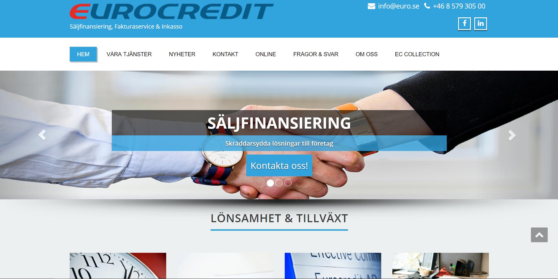 Eurocredit Innan de fick ny hemsida av Sunbird
