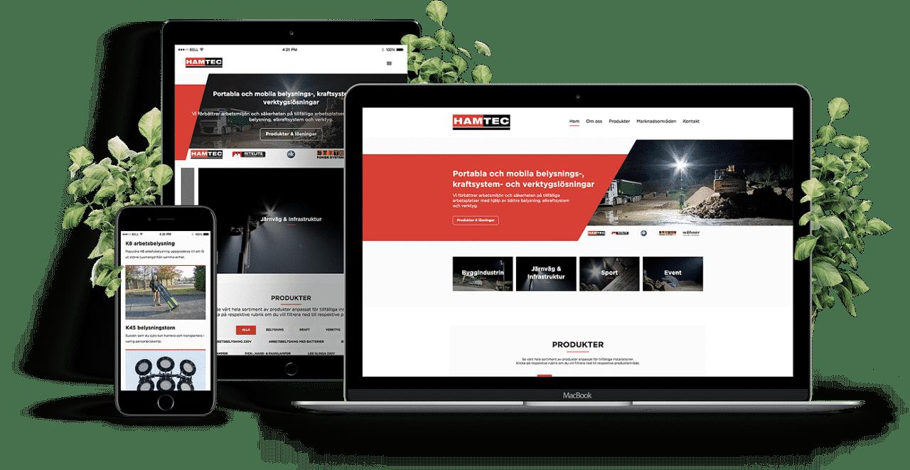 Hamtec design av hemsida på dator och mobil